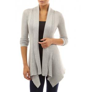 Chic Turn-Down Neck Long Sleeve Pure Color Women's Cardigan - Gray - Xl