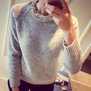 Elegant Round Collar Solid Color Long Sleeves Sweater For Women - Gray - One Size(fit Size Xs To M)