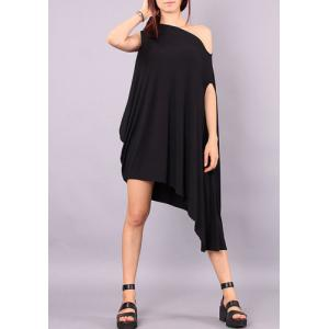 Stylish Skew Neck Short Sleeve Asymmetrical Loose-Fitting Women's Dress