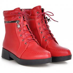 Fashionable Solid Color and PU Leather Design Women's Short Boots -