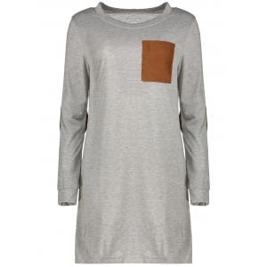 Stylish Round Neck Long Sleeve Spliced Loose-Fitting Women's Dress - Gray - M
