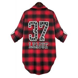 Stylish Shirt Collar Long Sleeve Number Print Gingham Women's Shirt - RED 5XL