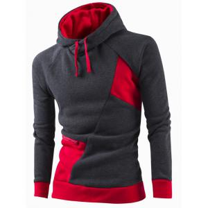 Inclined Zipper Classic Color Lump Splicing Rib Hem Slimming Hooded Long Sleeves Men's Hoodie - Red - M