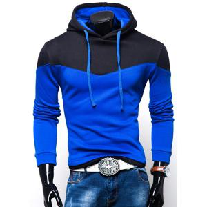 Personality Hem Color Lump Splicing Slimming Hooded Long Sleeves Men's Casual Hoodie