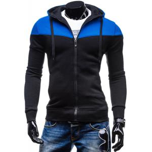 Fashion Two-Tone Spliced Front Pocket Slimming Hooded Long Sleeves Men's Zip Up Hoodie