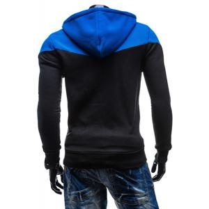 Fashion Two-Tone Spliced Front Pocket Slimming Hooded Long Sleeves Men's Zip Up Hoodie -