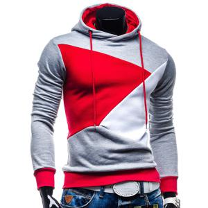 Irregular Color Lump Spliced Rib Hem Slimming Hooded Long Sleeves Men's Casual Hoodie - Light Gray - L