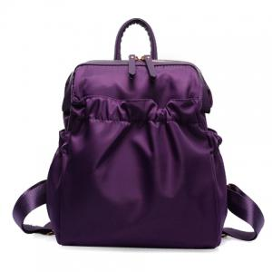 Fashionable Solid Colour and Zipper Design Women's Backpack
