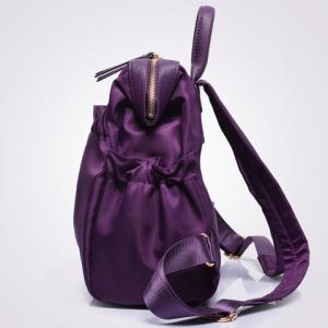 Fashionable Solid Colour and Zipper Design Women's Backpack - PURPLE