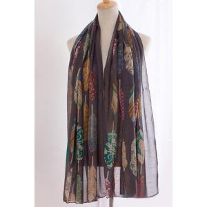 Chic Various Handpainted Feathers Pattern Voile Scarf For Women -