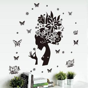 DIY Butterfly Girl Pattern Decorative Wall Stickers -
