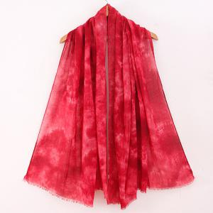 Chic Tie-Dyed Print Fringed Edge Voile Scarf For Women -