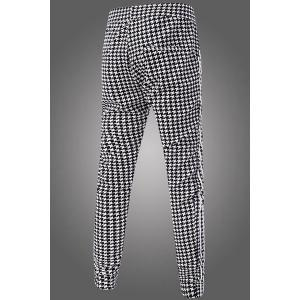 Casual Narrow Feet Color Block Houndstooth Print Stripes Spliced Men's Elastic Waist Jogger Pants - CHECKED 3XL