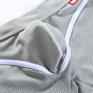 Pretty Sexy Mesh Design Breathable U Convex Pouch Men's Boxer Brief - GRAY M