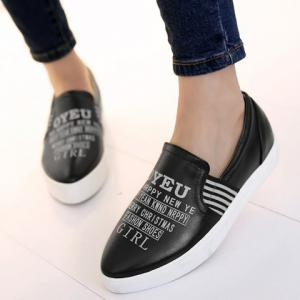 Point Toe Letter Print Slip On Sneakers -