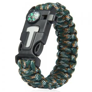5 in 1 Outdoor Survival Gear Escape Paracord Bracelet Flint / Whistle / Compass / Scraper - Jungle Camouflage