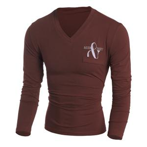 Fake Patch Pocket Letters Embroidered Solid Color V-Neck Long Sleeves Men's Slim Fit T-Shirt