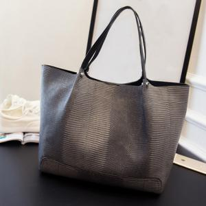 Stylish PU Leather and Embossing Design Women's Shoulder Bag -
