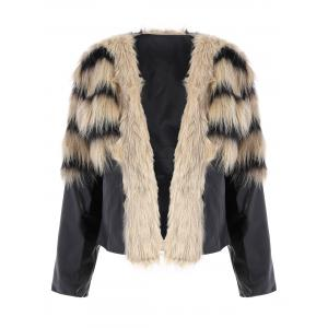 Faux Fur PU Leather Jacket - Colormix - 2xl