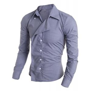 Personality Irregular Button Fly Solid Color Shirt Collar Long Sleeves Men's Slimming Shirt -