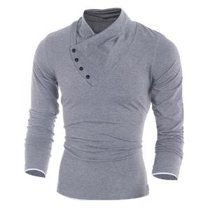 Inclined Single-Breasted Color Block Cuffs Slimming Heaps Collar Long Sleeves Men's T-Shirt