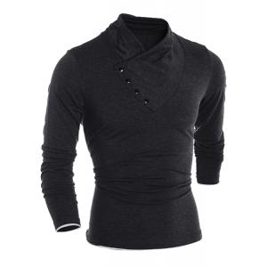 Inclined Single-Breasted Color Block Cuffs Slimming Heaps Collar Long Sleeves Men's T-Shirt - BLACK 2XL