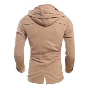 Drawstring Waist Multi-Button Patch Pocket Back Slit Hooded Long Sleeves Slimming Men's Safari Jacket - BEIGE 2XL