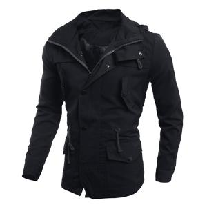 Drawstring Waist Multi-Button Patch Pocket Back Slit Hooded Long Sleeves Slimming Men's Safari Jacket - Black - 2xl