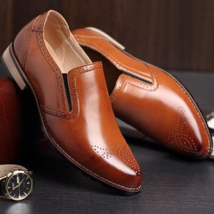 Retro Style Engraving and Solid Color Design Men's Formal Shoes -
