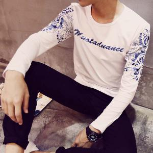 Bright Color Letters Tribal Print Slimming Round Neck Long Sleeves Men's Casual T-Shirt -