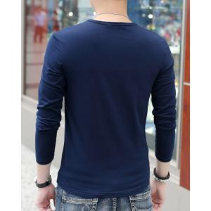 Modern Style Round Neck Color Block Wide Stripes Spliced Long Sleeves Men's Slim Fit T-Shirt -