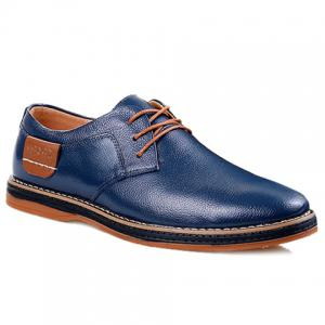 Simple Style Round Toe and Solid Color Design Men's Formal Shoes - Blue - 43