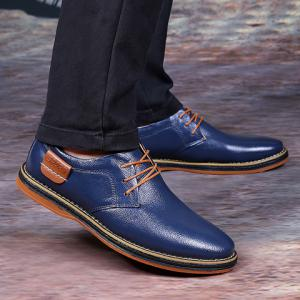 Simple Style Round Toe and Solid Color Design Men's Formal Shoes - BLUE 43