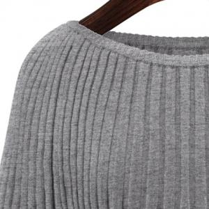 Chic Slash Neck Dolman Sleeve Solid Color Sweater For Women -