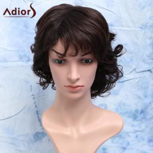 Curly Full Bang Short Heat Resistant Synthetic Men's Wig - Dark Brown