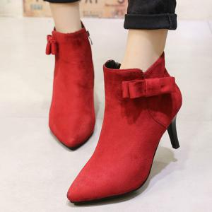 Bow Pointed Toe Ankle Boots - RED 37