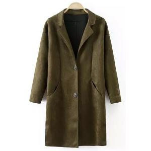 Stylish Lapel Long Sleeve Pocket Design Women's Suede Coat - Blackish Green - L