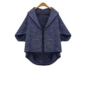 Batwing Sleeve Plus Size Wool Cape Jacket - Blue - 3xl