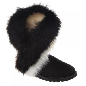 Trendy Color Block and Faux Fur Design Women's Snow Boots - Black - 38