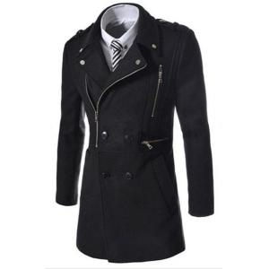 Elegant Fake Belt Inclined Top Fly Multi-Zipper Epaulet Design Slimming Lapel Long Sleeves Men's Peacoat - Black - 2xl