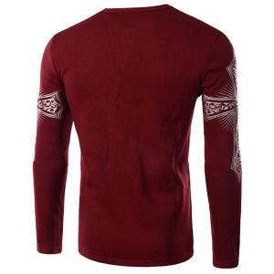 Modern Style Round Neck Color Block Special Cross Print Slimming Long Sleeves Men's Flocky T-Shirt - RED M