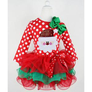 Cute Polka Dot Santa Claus Spliced Multilayered Christmas Mini Dress For Girl - Red - 130