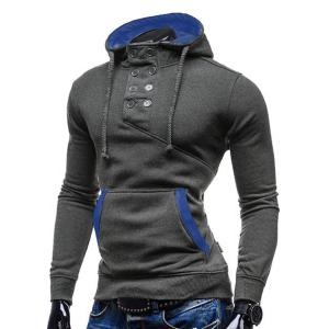 Trendy Hooded Double Breasted Pocket Hemming Slimming Long Sleeve Cotton Blend Hoodie For Men - GRAY M