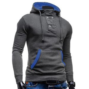 Trendy Hooded Double Breasted Pocket Hemming Slimming Long Sleeve Cotton Blend Hoodie For Men - GRAY 2XL