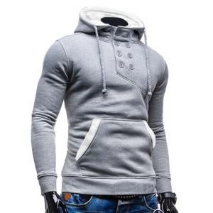 Trendy Hooded Double Breasted Pocket Hemming Slimming Long Sleeve Cotton Blend Hoodie For Men - COLORMIX L