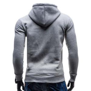 Trendy Hooded Double Breasted Pocket Hemming Slimming Long Sleeve Cotton Blend Hoodie For Men - COLORMIX XL