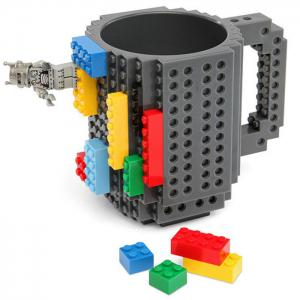 DIY Creative Building Blocks Style Build-On Brick Mug Tea Cup - Gray