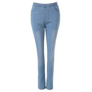 Fashionable Bleach Wash Elastic Waist Jeans For Women - Light Blue - L