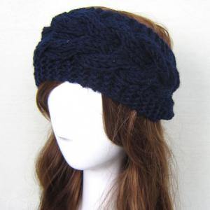 Trendy Solid Color Woolen Yarn Knitted Warmth Hairband For Women