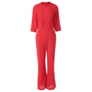 Fashionable Jewel Neck Solid Color 3/4 Sleeve Jumpsuit For Women -